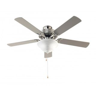 Cambridge 3-Light Brushed Nickel 52 in. Ceiling Fan with White Glass