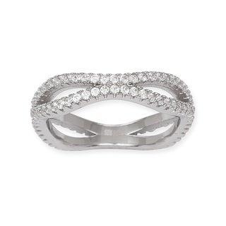 La Preciosa Sterling Silver Micro Pave CZ Band Ring