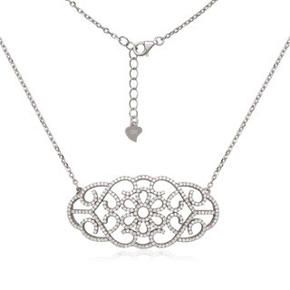 La Preciosa Sterling Silver Micro Pave CZ Design Necklace