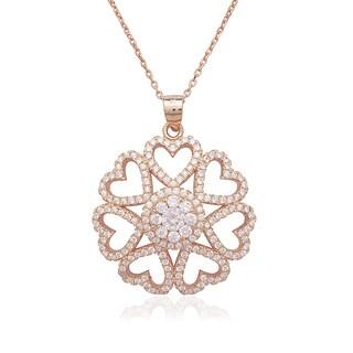 La Preciosa Sterling Silver Rose-Plated & Micro Pave CZ Heart Pendant