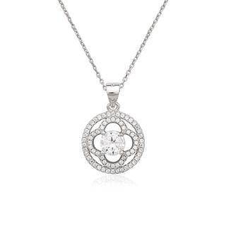 La Preciosa Sterling Silver Micro Pave CZ Flower Circle Pendant