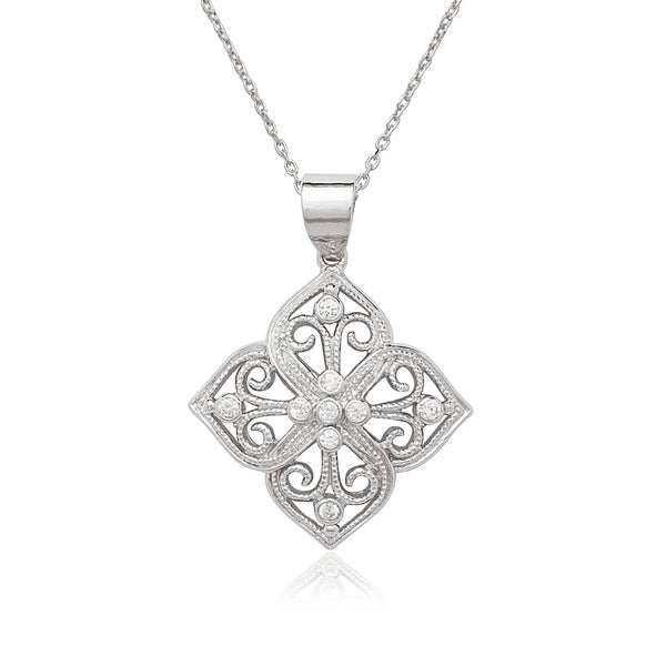 La Preciosa Sterling Silver CZ Designed Necklace. Opens flyout.