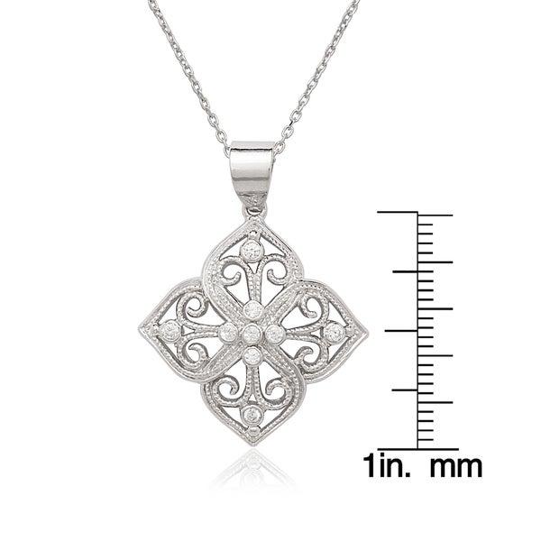 La Preciosa Sterling Silver CZ Designed Necklace