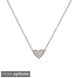 La Preciosa Sterling Silver Micro Pave CZ Small Heart Necklace