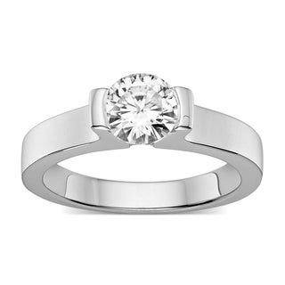 Charles & Colvard Sterling Silver 1ct. TGW Round Forever Classic Moissanite Solitaire Ring