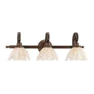 Cambridge 3-Light Bronze 27 in. Bath Vanity with Gold Ice Glass