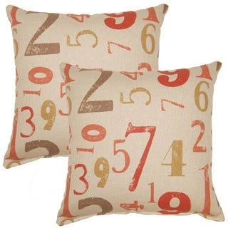 Numerology Coral 17-inch Throw Pillow (Set of 2)