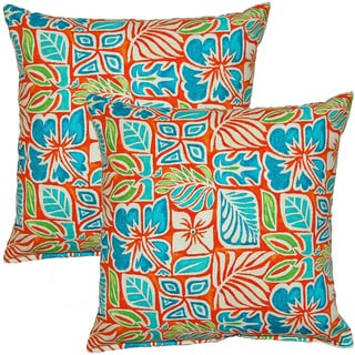 Sun Blocks Coral 17-inch Throw Pillow (Set of 2)