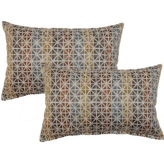 Geometric Square Rootbeer Decorative Throw Pillow (Set of 2)