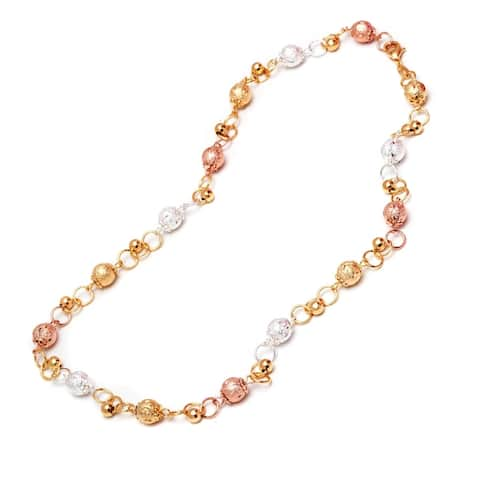 Two-tone Goldplated Silvertone Cubic Zirconia Link Chain Necklace