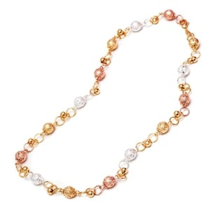 Peermont Jewelry 18k Two-tone Goldplated and Silverplated Diamond-Crushed Ball Link Chain Necklace