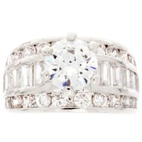 Nexte Jewelry Silvertone Bridal Inspired Large Center Stone Ring with Accent Stones