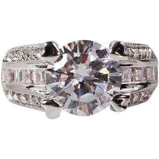 Nexte Jewelry Silvertone Bridal Inspired Large Center Stone Ring with Baguettes and Round Accent Stones