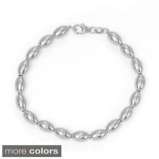 Sterling Silver Oval Beaded Bracelet
