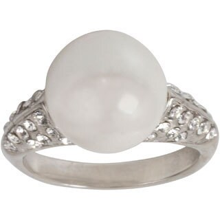 Nexte Jewelry Large Faux Pearl Ring with White Round Rhinestone Accents