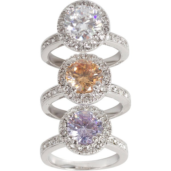 Nexte Jewelry Silvertone Round Center Cubic Zirconia Ring with Side and Surrounding Accent Stones