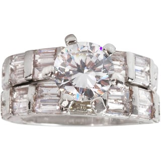 Nexte Jewelry Silvertone Clear Cubic Zirconia Bridal-inspired Ring Set with Baguettes