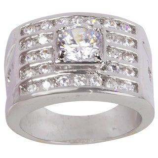 Nexte Jewelry Silvertone Five Row Channel Set Ring with Round White Center Stone