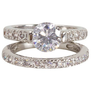 Nexte Jewelry Silvertone Bridal Inspired Set with Unique Two Prong Center Stone Setting