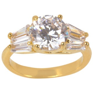 Nexte Jewelry Goldtone White Round Solitaire Ring with Side Baguette Accent Stones