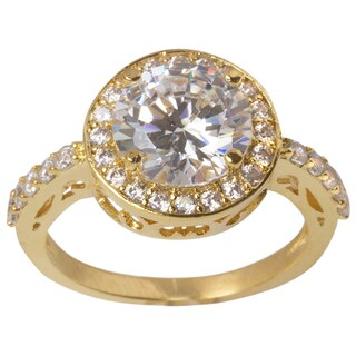 Nexte Jewelry Goldtone Filigree Ring with Large White Round Large Center Stone and White Round Accent Stones