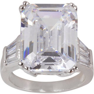 Nexte Jewelry Silvertone Extra Large Emerald-cut Cubic Zirconia Center Stone with Tapered Baguette Accent Stones