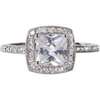 Nexte Jewelry Silvertone Princess-cut  Ring with Round Accent Stones