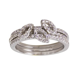 Nexte Jewelry Silvertone Three Micro Pave Interlocking Band Ring
