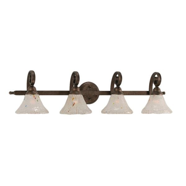 Cambridge 4-Light Bronze 36.5 in. Bath Vanity with Frosted Crystal Glass
