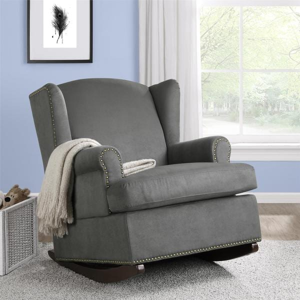 Baby Relax Harlow Wingback Charcoal Rocker with Nailheads