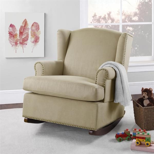 Baby Relax Harlow Wingback Rocker With Nailheads Free