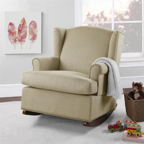 Baby Relax Harlow Wingback Rocker with Nailheads