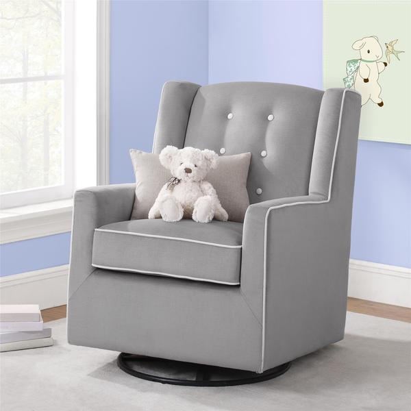 Baby Relax Emmett Button Tufted Graphite Grey Swivel Glider