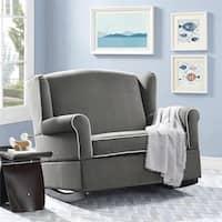 Avenue Greene Tori Graphite Grey Wingback Chair and Rocker - N/A