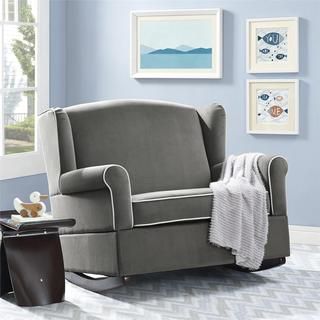 Avenue Greene Tori Graphite Grey Wingback Chair and Rocker