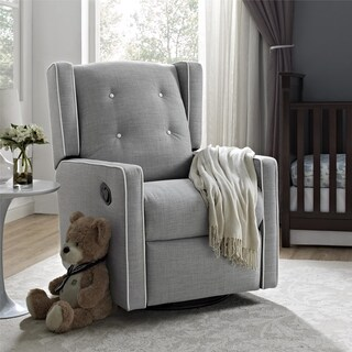 Baby Relax Mikayla Fabrick Swivel Gliding Recliner (Option: Silver)