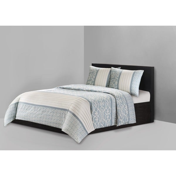 N Natori Fretwork Aqua Cotton 3-piece Duvet Cover Set