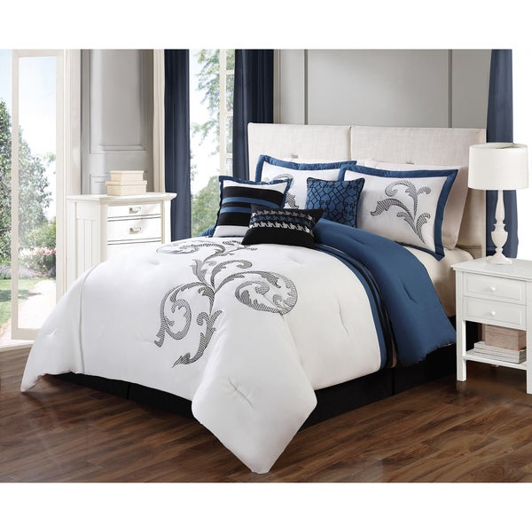 Journee Collection Galicia 7-piece Embroidered Comforter Set