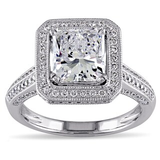 Miadora Signature Collection 18k White Gold Sapphire Tourmaline and 2 3/4ct TDW Radiant Cut Certifie (More options available)