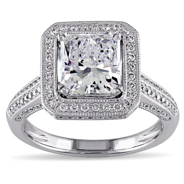 Miadora 18k White Gold 2 3/4ct TDW Certified Diamond Gemstone Accent Halo Engagement Ring (GIA)