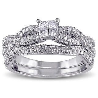 Miadora Sterling Silver 2/5ct TDW Princess Diamond Bridal Ring Set (G-H, I2-I3)