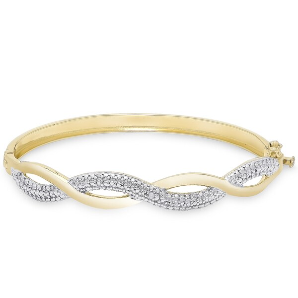 Finesque Gold Overlay Diamond Accent Infinity Bangle