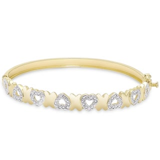 Finesque Gold Overlay Diamond Accent 'X' and Heart Bangle