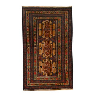Herat Oriental Afghan Hand-knotted Semi-antique Tribal Balouchi Navy/ Black Wool Rug (3'9 x 6')