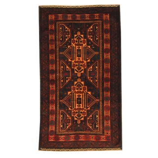 Herat Oriental Afghan Hand-knotted Semi-antique Tribal Balouchi Navy/ Gold Wool Rug (3'8 x 6'4)
