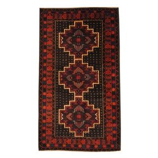 Herat Oriental Afghan Hand-knotted Semi-antique Tribal Balouchi Black/ Ivory Wool Rug (3'7 x 6'4)