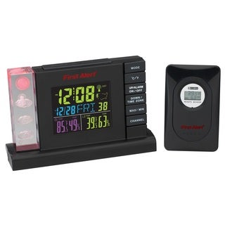 First Alert Radio Control Weather Station Alarm Clock with Wireless Sensor