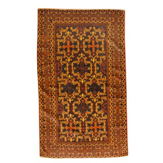 Herat Oriental Afghan Hand-knotted Semi-antique Tribal Balouchi Navy/ Gold Wool Rug (3'8 x 6'2)