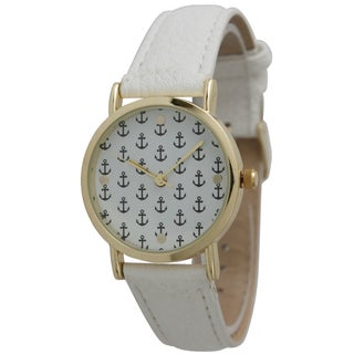 Olivia Pratt Women's Mini Anchor White Leather Strap Watch