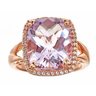 Sterling Silver White Sapphire Rose de France Ring